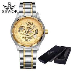 Sewor Men's Luxury Skeleton Stainless Steel Mechanical Watch