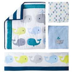 Circo® Crib Bedding Set – Whales 'n Waves-baby boy bedding Whale Nursery, Nursery Crib, Nursery Bedding Sets, Nautical Nursery, Nautical Baby, Nursery Themes, Nursery Ideas, Nursery Decor, Sailboat Nursery