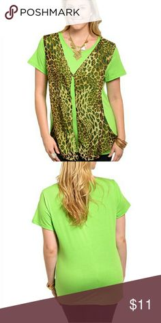 Green Women's Top size 3X This unique short sleeve top features a combination sheer leopard pattern print layer with a single button closer. Loose relax fit. 100% Polyester dila usa Tops Blouses