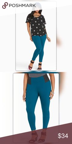 "Torrid WIde Waisted Pixie Pants In bold and bright teal knit, complete with flattering seams, this style sports a skinny fit through the tapered ankle. A wider waist echoes our standard Pixie, the elastic panels on the hips are basically the most flattering touch ever (and comfy too). Higher-riseSize 1: 28"" inseam, 11"" leg openingCotton/nylon/spandexWash cold, dry lowImported plus size pants torrid Pants Ankle & Cropped"