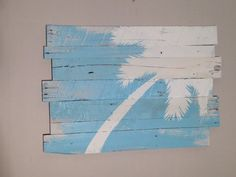 Surf and Palm Tree Reclaimed Wood Rt Lean 32 x 21 by WoodburyCreek