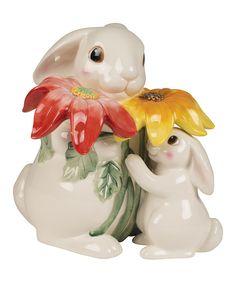 Bunny Bloom Cookie Jar by Fitz and Floyd #zulily #zulilyfinds