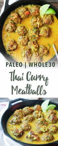Paleo thai curry meatballs | Empowered Sustenance