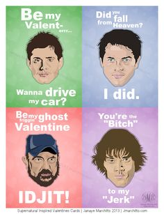 Set of 4 Supernatural Inspired Valentine Cards-Includes Dean, Sam, Castiel and Bobby- funny- high quality. $9.00, via Etsy.