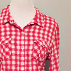 Gingham button down Super soft!  Great condition and pairs well with vests and scarves!  Bright red/pink and white pattern.  Fits true to size.  No trades.  Reasonable offers welcome Note: 20% off bundles of 3+ items in my closet! Mossimo Supply Co Tops Button Down Shirts