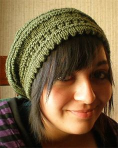 Free Knitting Pattern Picot-Edged Slouchy Beret - Jan Wise's slouchy beret features a picot edge that is formed by turning a hem on an eyelet row. Two sizes.