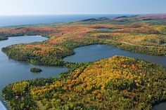 Inland lakes and Lake Superior in the distance near Lutsen, Minnesota