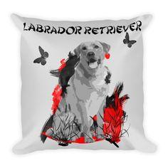 Labrador Retriever Chinese Painting / Silver - Square Pillow