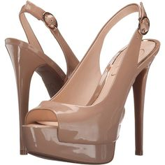 Jessica Simpson Kane (Nude Patent) Women's Shoes ($70) ❤ liked on Polyvore featuring shoes, pumps, beige, nude patent pumps, peep-toe pumps, beige pumps, nude pumps and slingback pumps