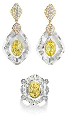 *** Amazing deals on stunning jewelry at http://jewelrydealsnow.com/?a=jewelry_deals *** CARTIER Rock Crystal, Yellow Sapphire and Diamond Suite Mmounted in 18K Yellow Gold and Platinum