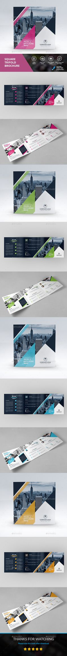 SQUARE TRI-FOLD - #Corporate #Brochures Download here: https://graphicriver.net/item/square-trifold/19446763?ref=alena994