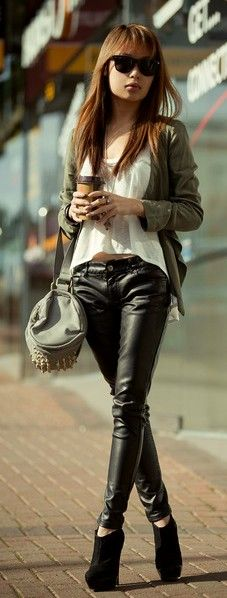 White tank, leather pants, olive khaki jacket, booties, mini duffle purse, sunglasses