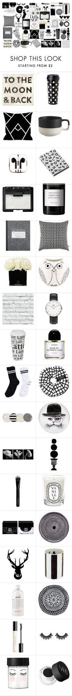 """""""black and white fillers"""" by juliehalloran ❤ liked on Polyvore featuring Sugarboo Designs, Kate Spade, One Bella Casa, CB2, PhunkeeTree, Nuuna, NARS Cosmetics, Byredo, Bococo and Hervé Gambs"""
