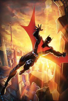 The sun rises on a new day in BATMAN BEYOND! With the threat of Brother Eye finally gone, Tim Drake is a man lost in time and without a mission. But now that he finally has the opportunity to explore Batman Art, Batman And Superman, Spiderman, Batman Arkham, Batman Stuff, Future Batman, Batman Poster, Batman Robin, Lego Batman