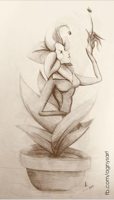 """Dahlila, Just a Friendly Flower"" #Flower #Graphite #Character #Nature"