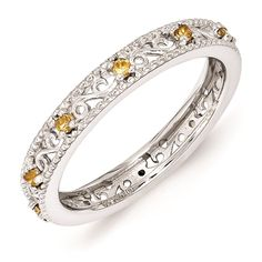 Sterling Silver Stackable Ring Citrine November Birthstone Jewelry QSK1492 #StackableExpressions #Band