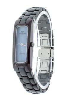 Oniss ON8045-LBU/BK Women's Watch Slim Blue Dial Black Ceramic Band Burgundy Case