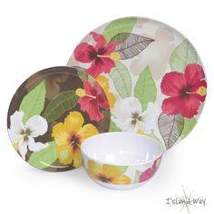 Island Way Living | Tropical Home Decor - Hibiscus Melamine Dinnerware Set 12pc Set, $49.99 (http://www.islandwayliving.com/decor-more/dinnerware/hibiscus-melamine-dinnerware-set-12pc-set/)