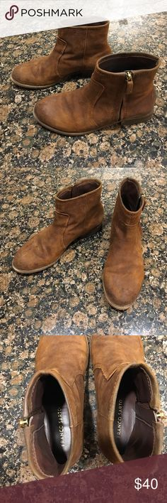 "Franco Sarto Kelvin Brown Ankle Booties Every girl needs a basic leather ankle boot to complete her fall wardrobe, and the Kelvin booties from Franco Sarto are the perfect choice! With understated details, these versatile flat boots will pair great with your favorite jeans for an effortlessly cool casual style! Very light wear /distressing on toes, Otherwise in pretty perfect condition. Very comfortable and cute! Distressed leather upper Side zipper for easy on/off Round toe 1"" stacked block…"