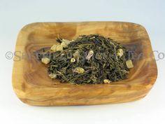 Blue Mango Green Tea.  The luscious taste of mangos blended with a smooth, green Sencha tea.  Fantastic hot or iced.