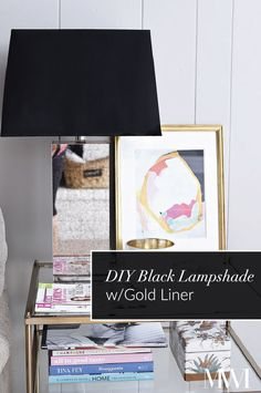 Upgrade those plain white lampshades into black and gold lined beauties using some acrylic paint and gold spray paint. Affordable way to make your current lamps look high-end.