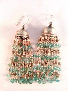 Dangle earrings in sterling silver, fine Bali beads and aquamarine beads. Hand made in India. www.mynahstree.com