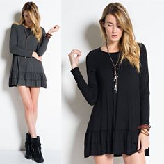 LIZBETH ruffle long sleeve top - BLACK Available in black & charcoal. Super soft & versatile. Great for layering, see pic 3. Good for all seasons. NO TRADE, PRICE FIRM Bellanblue Tops Tees - Long Sleeve