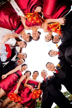 great picture idea for wedding party. love thats its just fun and not like every other wedding picture in the world                                                                                                                                                     More