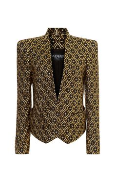 Jacquard Structure Shoulder Blazer by Balmain