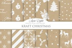 Kraft Christmas Digital Papers by AvenieDigital on Creative Market