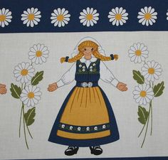 Lovely vintage Curtain Valance Sveland with men and women in national costumes & daisies. Typically Swedish Midsummer motif and blue / yellow colors like the Swedish flag. Made by Arvidssons textil, Sweden. Made by Tampella. Really good vintage condition: new piece-goods. Height