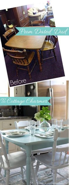 Resurface our kitchen table and put a hard seat on chairs.From Dated Dud to Cottage Charmer: How to Paint a Laminate Kitchen Table/Confessions of a Serial Do-it-Yourselfer Furniture Rehab, Kitchen Table Makeover, Home Diy, Refurbished Furniture, Chic Kitchen, Home Decor, Shabby Chic Kitchen, Shabby Chic Furniture, Chic Furniture