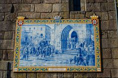 A tile painting showing King John IV, King of Portugal and Algarve in the 17th century, as he arrives in Ponte de Lima with his entourage. His daughter, Catherine of Braganza, married Charles II of England of England, and the pair is credited with introducing tea to the British court. Anitasfeast.com - Ponte de Lima, Portugal