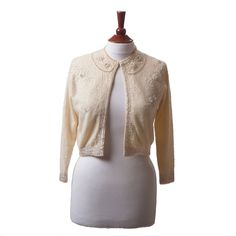 50s Sweater/ 1950s Beaded Sequin Cardigan