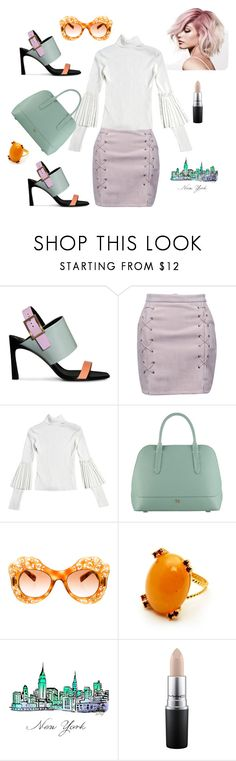 """New York City girl"" by explorer-14812429634 ❤ liked on Polyvore featuring WithChic, Radley, Dolce&Gabbana and MAC Cosmetics"