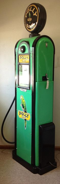 Polly Gas Pump - This is why I began collecting artwork and pins of gas pumps. Years ago I was given a photograph of a POLLY GAS pump and was instantly enchanted. they are not common. Old Gas Pumps, Vintage Gas Pumps, Pompe A Essence, Old Garage, Old Gas Stations, Filling Station, Texaco, Oil And Gas, Old Trucks