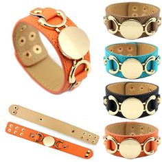Manufacturer Wholesale Disc Leather Cuff Bangle Bracelets for Women Personalized Monogram Leather Cuff Bangle Bracelets #Affiliate