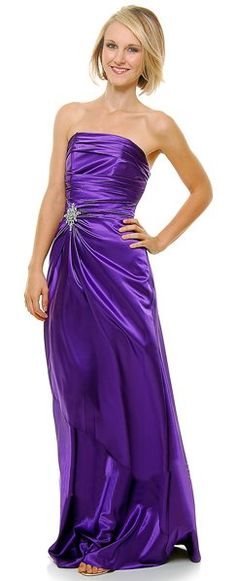 Long Strapless Purple Bridesmaid Dress Prom Satin Rhinestone Pleated Bodice $99.99