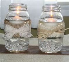 Mason Jar Candles. love the burlap and lace together!