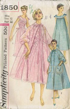Vintage 50's Misses Nightgown Negligee and Brunch Coat Pattern    Sleeveless Gown pattern is gathered at upper edge to fit yoke and is trimmed with lace edging and bows.  Negligee has lace trim, small collar and raglan sleeves with elastic casing at lower edge.  View 1 Gown has contrasting yoke, ribbon tie at waist.  Negligee is open in front, has ribbon tie at neck.  View 2 Brunch Coat same as Negligee plus button-front closing, lace edged pockets.