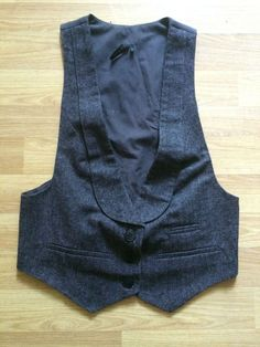 TOPSHOP Ladies Slim Fit Casual Office Grey Brown Wool Cotton Waistcoat Size 12 | eBay