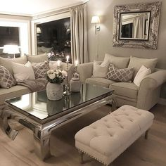 Cozy Living Room Inspiration - 50 Sophisticated Formal Living Room To Try At Home Living Room Decor Cozy, Formal Living Rooms, Living Room Interior, Home Living Room, Apartment Living, Living Room Designs, Cozy Apartment, Silver Living Room, Apartment Design