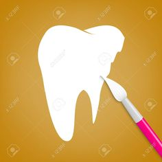 Brush paints over white tooth, illustration. Graphic Design Portfolio Examples, Portfolio Design, White Teeth, Dental Care, Tooth, Concept, Illustration, Painting, Portfolio Design Layouts