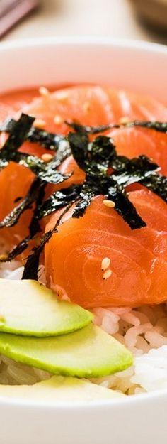 Salmon Sashimi Bowl with Avocado | Omnivore's Cookbook