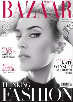 The April issue of Harper's Bazaar with Kate Winslet