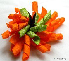 Orange pumpkin hair clip pumpkin hair bow by PoshPrincessBows1, $7.50