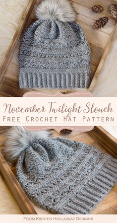This cute slouchy beanie pattern uses textured stitches and a faux fur pom-pom to create a warm winter hat. It is quick and easy to crochet this beautiful project. knit hat patterns for women slouch beanie Free Crochet Slouch Hat Pattern For Women Crochet Slouchy Hat, Crochet Beanie Pattern, Knitted Hats, Easy Crochet Hat Patterns, Slouchy Beanie Hats, Beanies, Beanie Knitting Patterns Free, Beanie Pattern Free, Crocheting Patterns