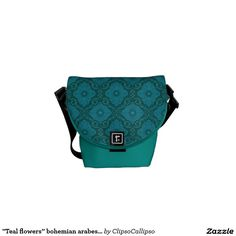 """Teal flowers""Courier Bag  #turquoise, #green, #emerald, #blue, #teal, #floral, #flower, #vintage, #pattern, #bohemian,  #arabesque, #damask, #ornament, #flourishing, #blooming, #ornamental, #bloom, #decorative, #trendy, #70s, #eastern, #luxurious, #palatial,  #plush, #saturated, #colorful, #seamless, #design, #motif, #medallion, #rich, #bag, #messenger, #courier"