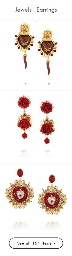 """Jewels : Earrings"" by selena1d5h ❤ liked on Polyvore featuring jewelry, earrings, accessories, d&g, red swarovski crystal earrings, red teardrop earrings, filigree earrings, teardrop earrings, swarovski crystal heart earrings and red"