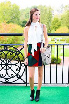@toryburch / fashion blogger LCB STYLE / tory burch cheval skirt, gemini link hobo bag, neck tie top, the greenbrier, america's resort